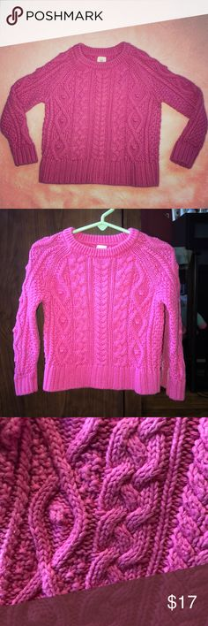 Toddler Girls Pink Woven Thick Sweater Hot Pink Thick Woven Toddler Girls Sweater. Super Warm & Cozy!  Perfect For Everyday Wear. 100% Cotton  *Worn Twice ONLY! GAP Shirts & Tops Sweaters