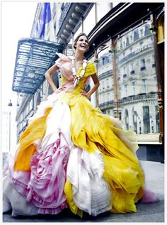 Dior colorful wedding dress. I would love to wear this for a gala...not that I have something to go to anymore to warrant a stunner like this!!
