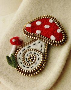 Felt  and zipper mushroom brooch by woollyfabulous on Etsy