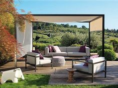 12 Outdoor pergola designs - If you are tired of bare look of your garden, beautify it with a pergola. Pergola will add an additional charm to your yard and area covered with pergola looks comfortable and tidy. Diy Pergola, Pergola Canopy, Outdoor Pergola, Outdoor Lounge, Outdoor Seating, Outdoor Rooms, Outdoor Living, Outdoor Furniture Sets, Pergola Kits