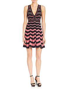 M Missoni Ripple-Stitched V-Neck Dress