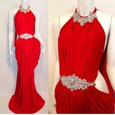 Beaded Prom Dress,Backless Prom Dress,Red Prom Dress,Fashion Prom