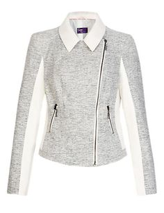 Twiggy for M&S Collection Tweed Biker Jacket Clothing