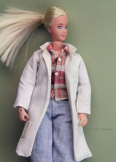 Use a basic coat pattern fitted to your doll to make a miniature lab coat. This is a great test project for the basic doll coat or jacket pattern.