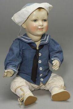 Composition Doll; Jessie McCutcheon Raleigh, Boy, Sailor Suit & Hat, 18 inch.
