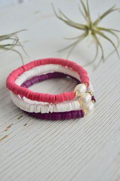 Diy Bracelets Easy, Summer Bracelets, Handmade Bracelets, Handmade Jewelry, Beaded Bracelets, Karma Bracelet, Pearl Bracelet, Bracelet Set, Cute Jewelry