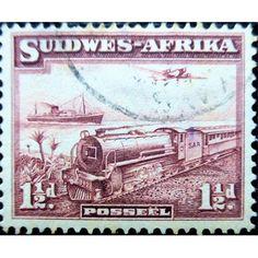 South Africa, Trains, Transport, locomotive, ship and plane 1940 used Rail Transport, Hindu Art, Rare Coins, Antique Shops, Locomotive, Postage Stamps, Vintage Posters, South Africa, Transportation