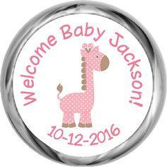 Giraffe Boy Hershey Kisses Shower Sticker (#HKS43)