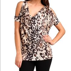 Tart Cold Shoulder Top 🎉🎉2X Host Pick!!!!!🎉🎉 Tart Sylvia Top with brown print. Size small but will fit a small or medium. Shirring on sides. Date Night Party Pick! Brand new with tags. Tart Tops