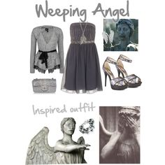 Weeping Angel Outfit- you could accessorize with blue tones just so the whole outfit isn't grey Doctor Who Outfits, Doctor Who Cosplay, Fandom Outfits, Eighth Doctor, Second Doctor, Weeping Angels, Martha Jones, Angel Outfit, Donna Noble