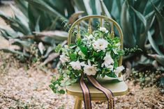 Molly Ryan Floral used a wild, loose, and natural style to create a white bridal bouquet. It is full of wild gardenias on the stem, mint, and other interesting foliage, and had the most heavenly scent. #wedding #weddingflowers #florals