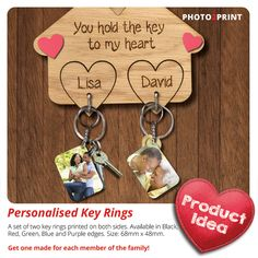 Love is Key in any relationship. Personalised Keyrings, Personalized Items, Key To My Heart, Key Rings, Valentines Day, Relationship, Purple, Red, Prints