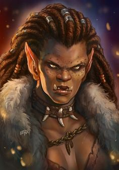 f Half Orc Barbarian Necklace Cloak portrait female underdark wilderness jungle lg Fantasy Races, Fantasy Rpg, Medieval Fantasy, Fantasy World, Dnd Characters, Fantasy Characters, Female Characters, Fantasy Portraits, Character Portraits