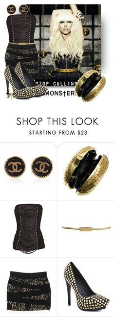 """""""lady gaga GOLD BLACK SET :::::DDD"""" by dora-medic ❤ liked on Polyvore featuring Susan Caplan Vintage, Lanvin, Warehouse, G by Guess, Rock & Republic, Chloé and Franklin"""