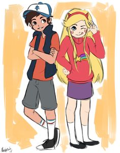 oMG Marco as Dipper and Star as Mabel! So cute!!