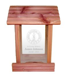 Urns Northwest  - National Guard Memorial Bird Feeder, $34.95 (http://urnsnw.com/national-guard-memorial-bird-feeder/) Made in the USA from aromatic cedar wood. A beautiful keepsake memorial tribute to a member of the National Guard.