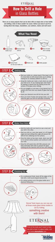 How to Drill A Hole In Glass Bottles (Infographic). Eternal Tools easy to follow, step by step guide on how to drill through your empty glass bottles, it couldn't be easier!  Recycle your bottles of beer and Merlot and make something creative out of them.