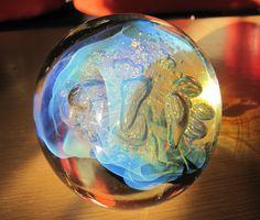 "Signed Robert Eickholt Paperweight Studio Art Glass 1996 MILKY WAY Large 4"""