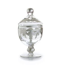 """Arte Italica Baroque Silver Small Canister by Arte Italica. $120.00. H:7.5"""" Diameter:3.75"""". Arte Italica Baroque Silver Small CanisterThese bath accessories were created by an Italian fashion designer then hand-crafted. The beautiful details create an elegant, unique addition to any bathroom."""