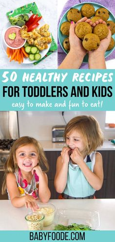 50 easy recipes that all ages will be able to help make! Introduce your toddlers and kids to the kitchen with these simple, easy and delicious recipes that they will want to help make and eat. From breakfast and lunch to dinner and snacks, this collection has something for everyone! Healthy Toddler Breakfast, Healthy Toddler Meals, Toddler Lunches, Delicious Recipes, Easy Recipes, Easy Meals, Yummy Food, Healthy Recipes, Cooking With Toddlers