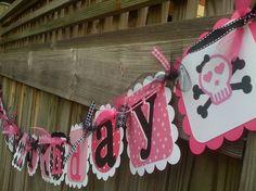 PUNK ROCK Happy Birthday Banner in Hot pink & Black. $30.00, via Etsy.