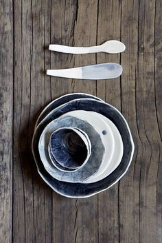 handmade pottery with indigo wash set // Yuniko Studio