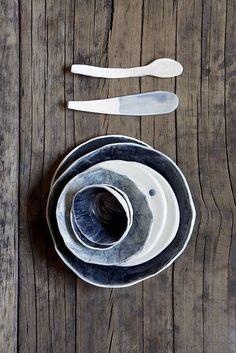 handmade pottery with indigo wash set // Yuniko Studio