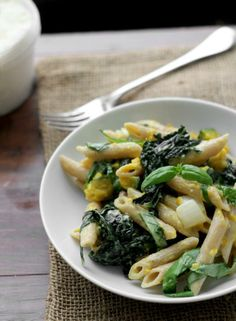 Penne with Butternut Squash, Kale and Goat Cheese