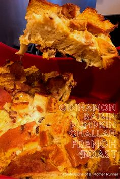 Cinnamon raisin pumpkin challah french toast all the delish smells and flavors of fall in one yummy brunch dish. Great for the holidays!
