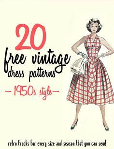 20 Free 1950s Style Dress Patterns