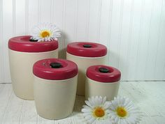Vintage Raspberry & Cream West Bend Canisters  by DivineOrders, $22.00
