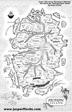Author Jasper Fforde's FICTION ISLAND http://www.jasperfforde.com/more/images/map.jpg