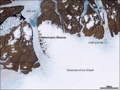 Satellite image of the Petermann Glacier and the Greenland Ice Sheet.