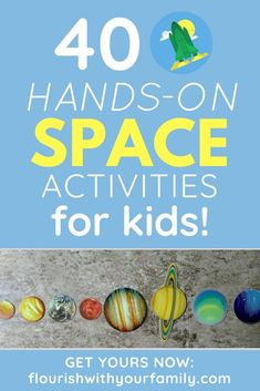 40 Hands-On Space Activities for Kids - Rolling Prairie Readers - Learning at Home - Learn more about the planets, stars, moon, and sun with our space-themed family activity guide. Planets Activities, Solar System Activities, Space Activities For Kids, Solar System Crafts, Hands On Activities, Science Activities, Space Preschool, Preschool Activities, Science Experiments Kids