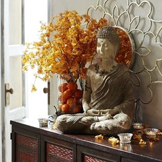 Meditate on this: Our gorgeous sitting Siddhartha is handcrafted of lava stone and will stimulate your inner chi while fostering peace and tranquility throughout your garden. Ethnic Decor, Asian Decor, Boho Decor, Indian Inspired Decor, Indian Home Decor, Buddha Bedroom, Buddha Home Decor, Sideboard Decor, Buddha Wall Art