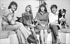 1970s Blue Peter presenters Peter Purves, Lesley Judd, Val Singleton, John Noakes and, of course, Shep
