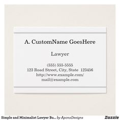 Shop Simple and Minimalist Lawyer Business Card created by AponxDesigns. Lawyer Business Card, Simple Business Cards, Card Designs, Letter Board, Minimalist, Nice, Paper, How To Make, Card Templates