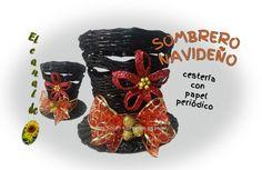 Sombrero navideño Cestería con  papel periódico - Christmas hat with new...