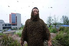 BEIJING (AFP) - Dunya News - Chinese man coverers himself in 460,000 bees for honey stunt The honey merchant from Chongqing covered himself in bees that weighed more than 45 kilograms. #WeirdNews #Weird #honey #Chinese