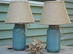 Rustic Blue Mason Jar Lamps, Pair of Lamps, Rustic Table Lamp,Distressed Mason Decor, Beach Lighting, Blue River Rock Lamp