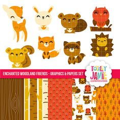 Enchanted Woodland Friends Cliparts And Digital by totallyjamie