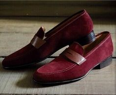 Men's Handmade Maroon Suede Shoes Men's Penny Loafers Slip On Moccasin S… - Ladys Marron Loafer Slippers, Loafer Shoes, Loafers Men, Suede Leather Shoes, Calf Leather, Soft Leather, Brown Leather, Leather Fashion, Mens Fashion