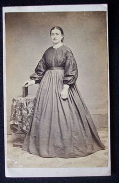 1860's Civil War era CDV photograph & revenue tax stamp York Pennsylvania (dress is made of two different fabrics)