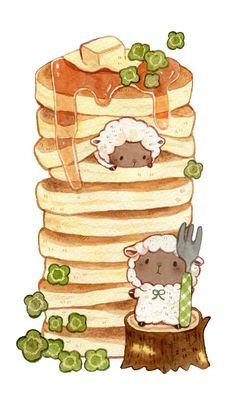 もかろーる🐹 on Really adorable sheep breakfast pancake drawing! So delicious 😋 I love drawings of food 😜 Kawaii Icons, Kawaii Doodles, Cute Doodles, Cute Food Drawings, Cute Animal Drawings Kawaii, Drawing Of Food, Adorable Drawings, Arte Do Kawaii, Kawaii Art