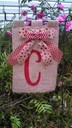 hand painted burlap flags  12 x 18 red letter  C by TheBurlapFlag, $30.00