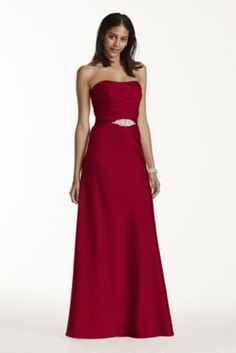 Timelessly chic, this stunning strapless long satin pleated bodice dress features a crystal belt, providing the perfect touch of glamour!  COMING SOON!  Pleated bodice provides flattering silhouette, accented at waist with crystal belt.  A-line skirt is universally figure flattering.  100% polyester.  Fully lined. Back zip. Dry clean only.  Available in Extra Length sizes as Style 4XLF17034. To protect your dress, try our Non Woven Garment Bag.