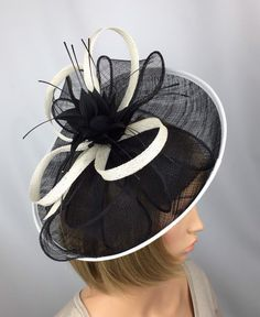 57c5b62e2bf5d Black and white Fascinator Hatinator Ladies Day   Ascot Races Wedding  Mother of the Bride Occasion Event