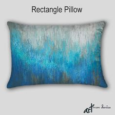 Abstract decorative pillows - oblong or square. Teal, turquoise, blue, aqua, white, and brown home decor by Denise Cunniff - ArtFromDenise.com. View more info at https://www.etsy.com/listing/261457030