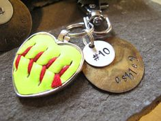 Personalized softball Keychain Repurposed LEATHER BASEBALL, team gift for coach,coach thank you,  personalized gift, baseball coach gift ideas