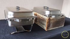 before picture of the chaffing dish by itself and then after with the wooden box around the base of the chaffing box